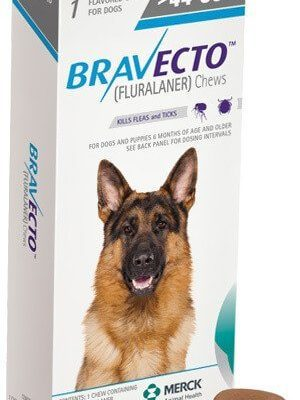 Bravecto Green For Dogs 44-88 lbs. 20-40 kg fleas ticks treatment Prevention