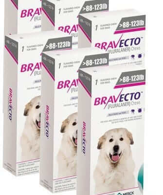 Bravecto for Dogs 3 Chewable Tablets Extra Large Dog 88-123lb (Pink, 40-56kg)